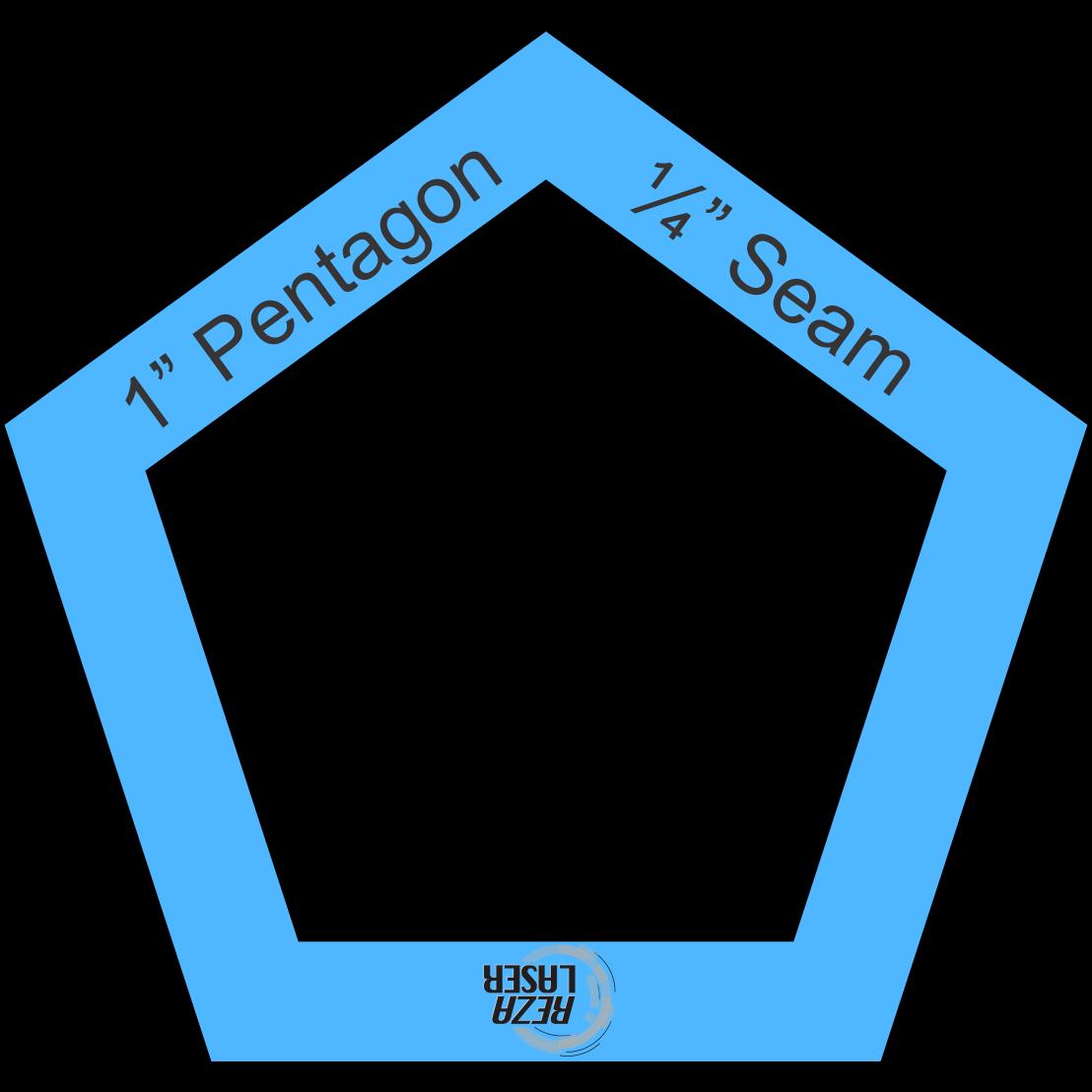 pentagon 1 inch acrylic template i spy with seam allowance