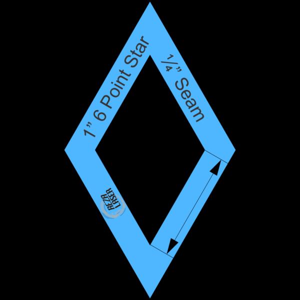 "Diamond - (60 Degree) 6 Point Star - 1"" Inch - Acrylic Template - I SPY with ¼"" Seam Allowance"