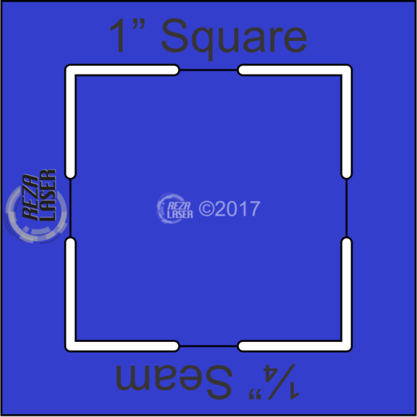 """Square 1"""" Inch - Acrylic Template - KEYHOLE with ¼"""" Seam Allowance"""