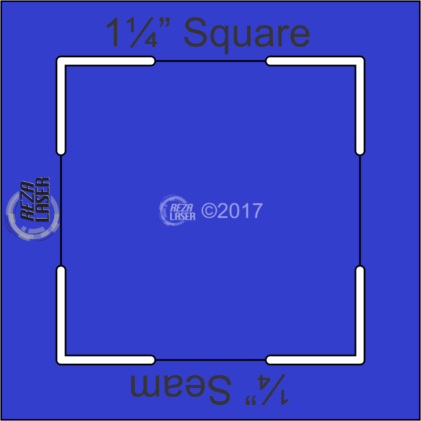 "Square 1¼"" Inch - Acrylic Template - KEYHOLE with ¼"" Seam Allowance"