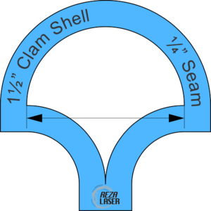 "Clam Shell - 1½"" Inch - Acrylic Template - I SPY with ¼"" Seam Allowance"