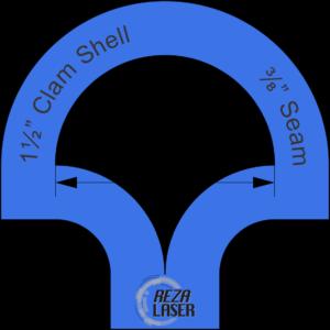 "Clam Shell - 1½"" Inch - Acrylic Template - I SPY with ⅜"" Seam Allowance"