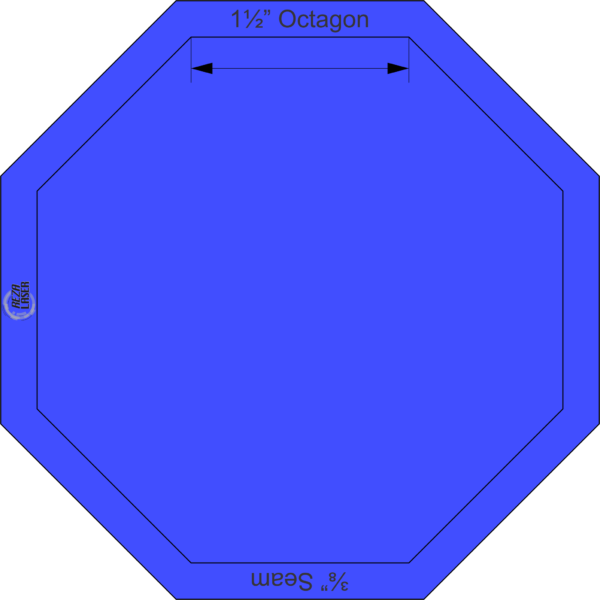"""Octagon 1½"""" Inch - Acrylic Template - SOLID with ¼"""" Seam Allowance"""