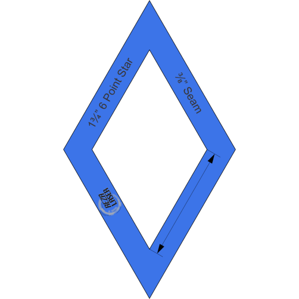 "Diamond - (60 Degree) 6 Point Star - 1¾"" Inch - Acrylic Template - I SPY with ⅜"" Seam Allowance"