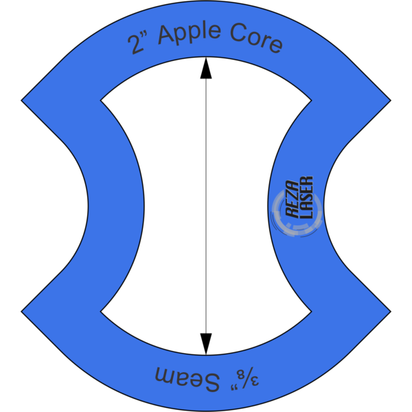"Apple Core - 2"" Inch - Acrylic Template - I SPY with ⅜"" Seam Allowance"