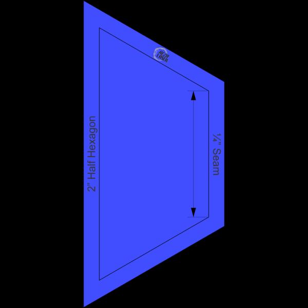 "Hexagon Half 2"" Inch - Acrylic Template - SOLID with ¼"" Seam Allowance"
