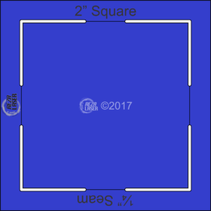"Square 2"" Inch - Acrylic Template - KEYHOLE with ¼"" Seam Allowance"