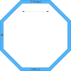 "Octagon 2"" Inch - Acrylic Template - I SPY with ¼"" Seam Allowance"