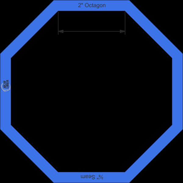 "Octagon 2"" Inch - Acrylic Template - I SPY with ⅜"" Seam Allowance"