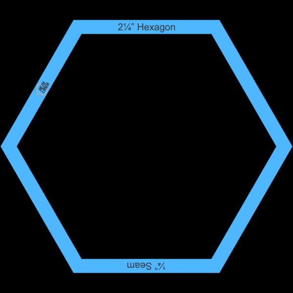 "Hexagon 2¼"" Inch - Acrylic Template - I SPY with ¼"" Seam Allowance"