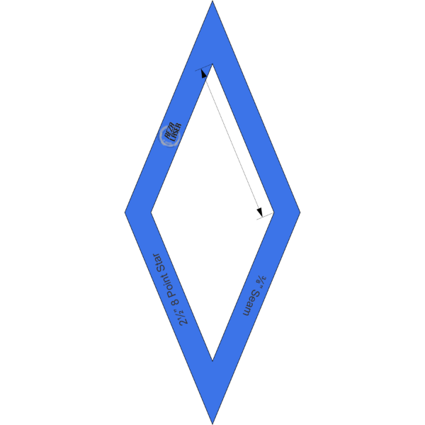 "Diamond - (45 Degree) 8 Point Star - 2½"" Inch - Acrylic Template - I SPY with ⅜"" Seam Allowance"
