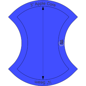 """Apple Core - 3"""" Inch - Acrylic Template - SOLID with ¼"""" Seam Allowance"""