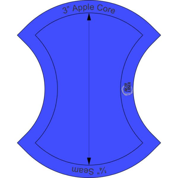 "Apple Core - 3"" Inch - Acrylic Template - SOLID with ¼"" Seam Allowance"