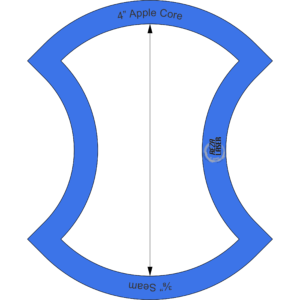 "Apple Core - 4"" Inch - Acrylic Template - I SPY with ⅜"" Seam Allowance"