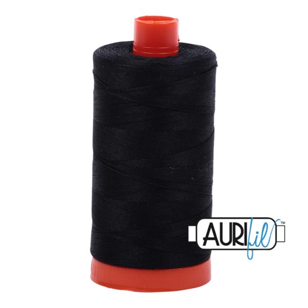 Aurifil - 50wt - Hand & Machine Piecing Thread - 1300 mts - Colour 2692 Black